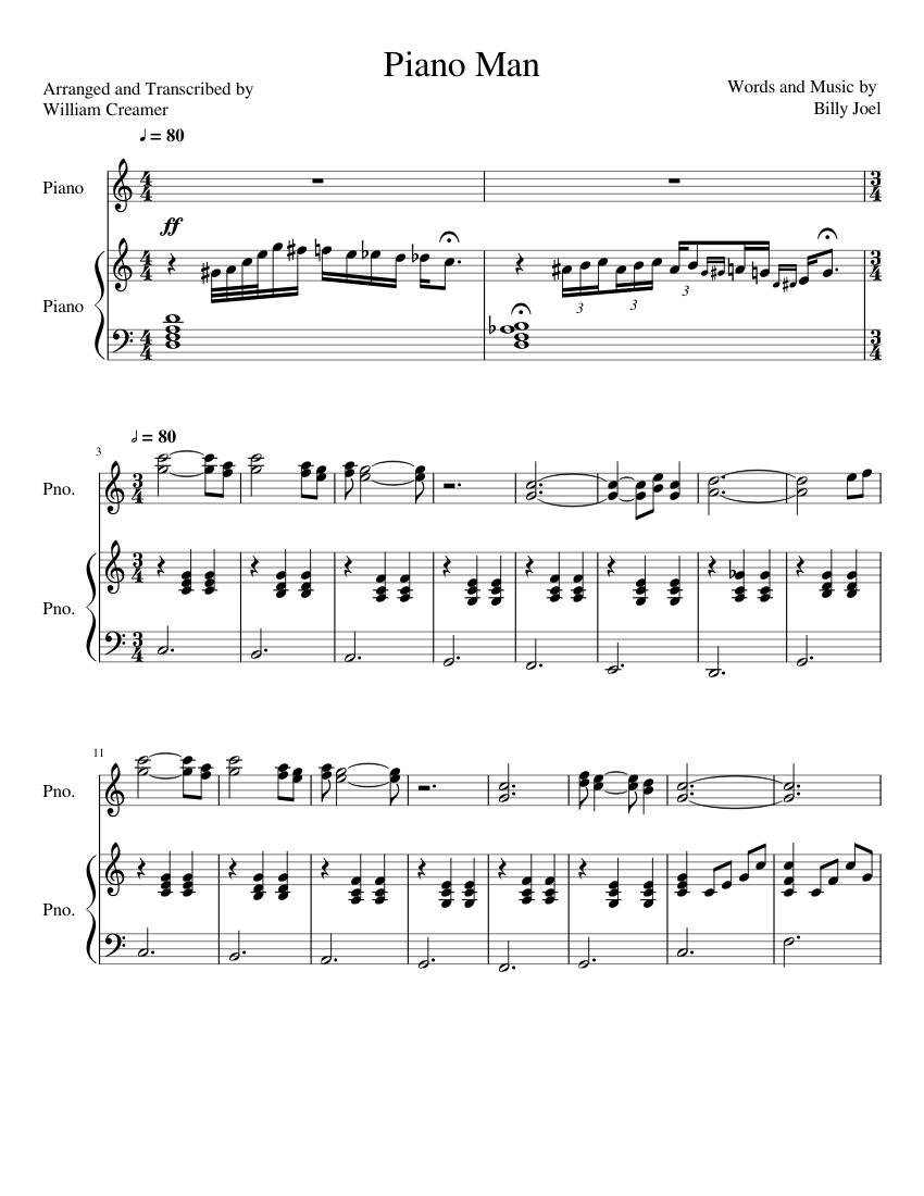 piano man piano sheet music for piano download free in pdf or midi. Black Bedroom Furniture Sets. Home Design Ideas