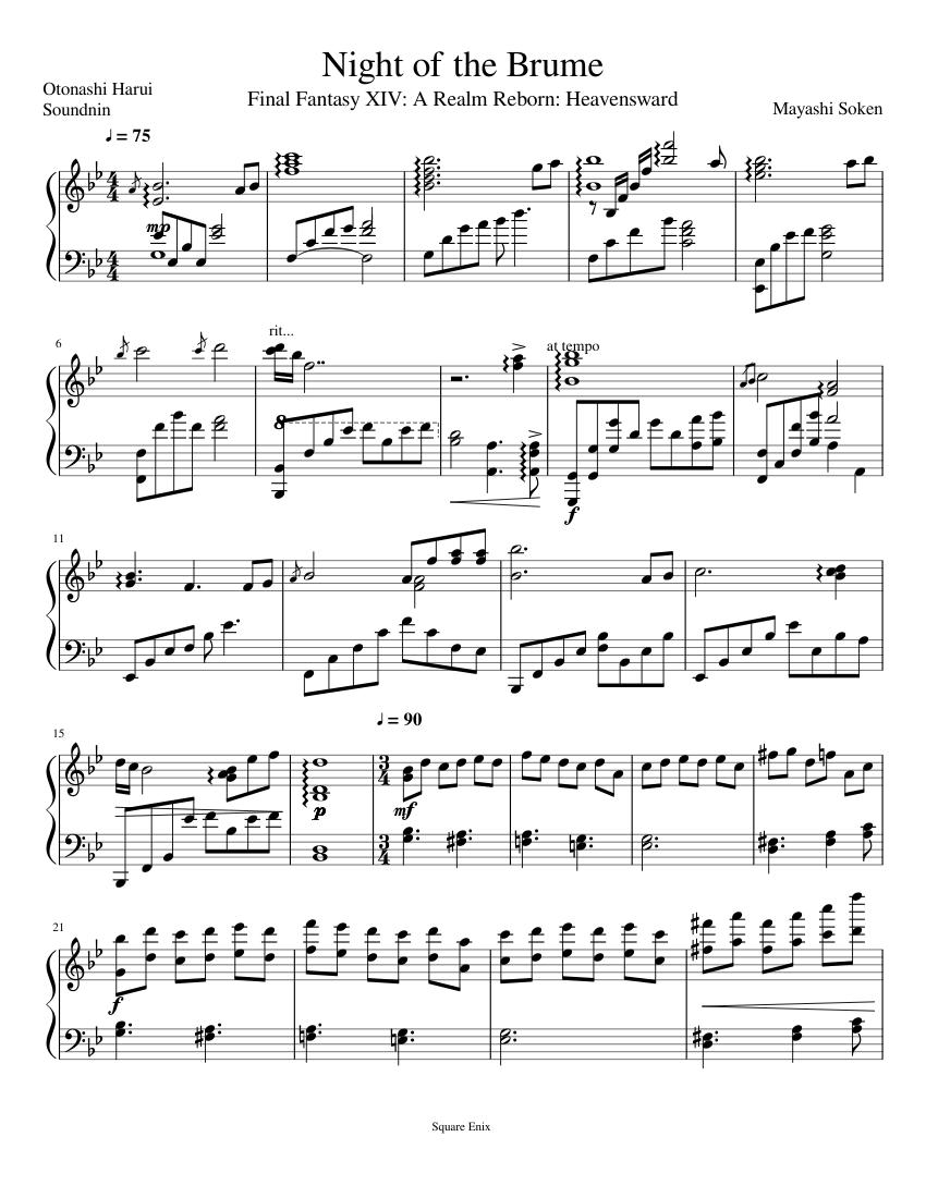 Night of the Brume - Final Fantasy XIV: Heavensward sheet music for