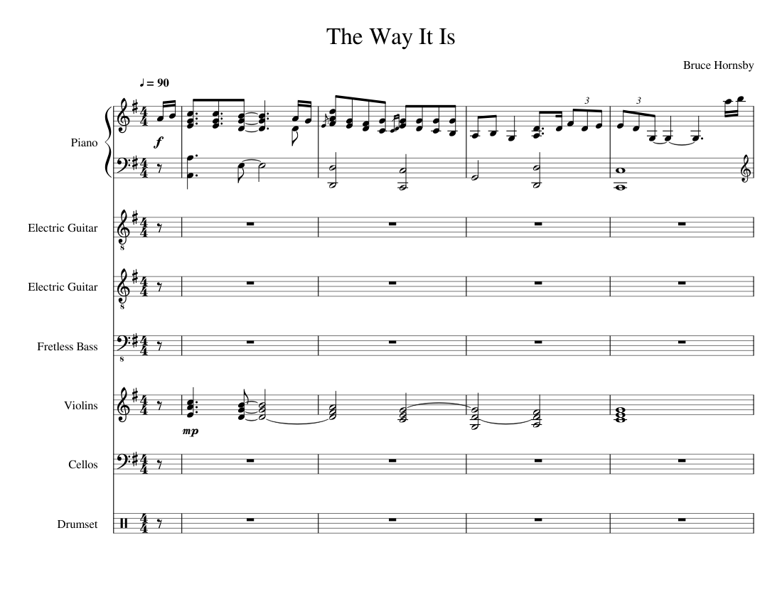 the way it is (bruce hornsby) (complete instrumental) sheet music for piano,  drum group, strings group, guitar & more instruments (mixed ensemble)    musescore.com  musescore.com