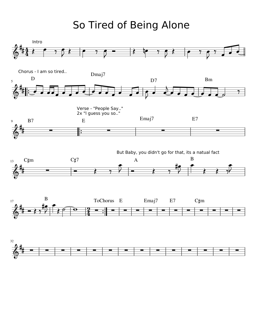 So Tired Of Being Alone Sheet Music For Piano Download Free In Pdf