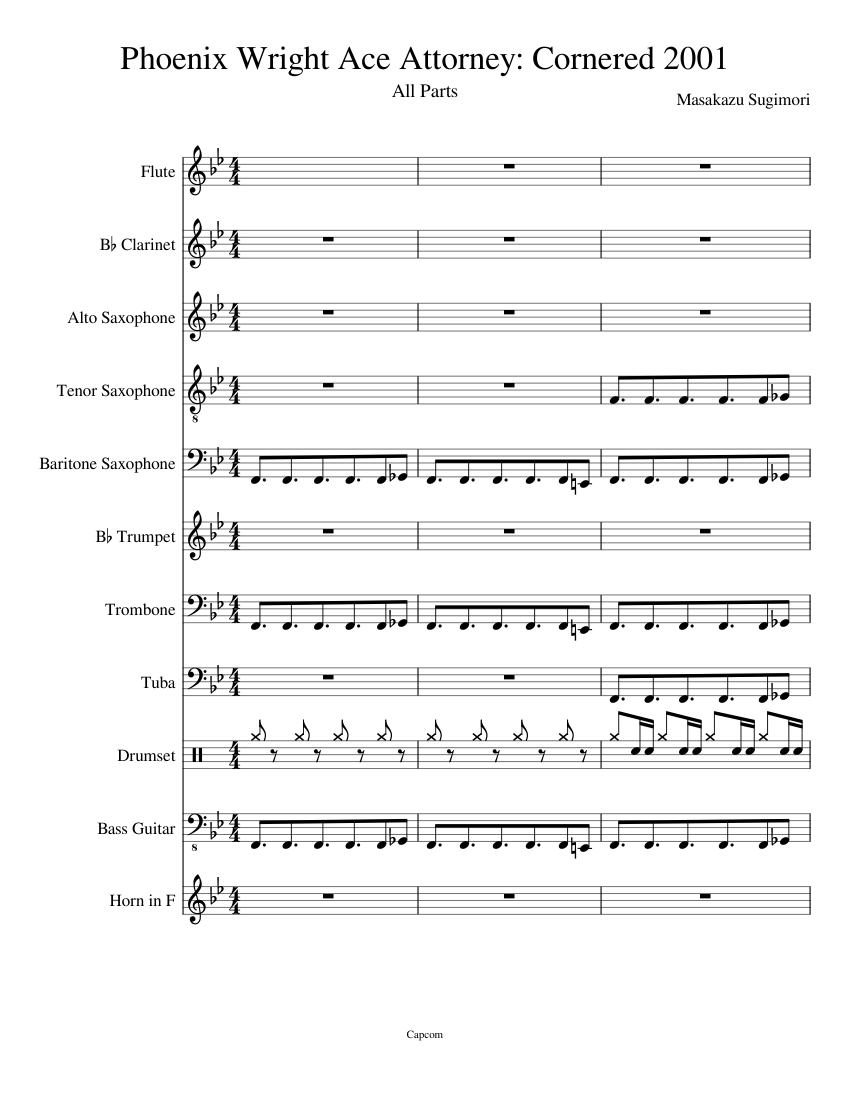 Phoenix Wright Ace Attorney Cornered 2001 Sheet Music For Trombone Flute Tuba Trumpet More Instruments Mixed Quintet Musescore Com