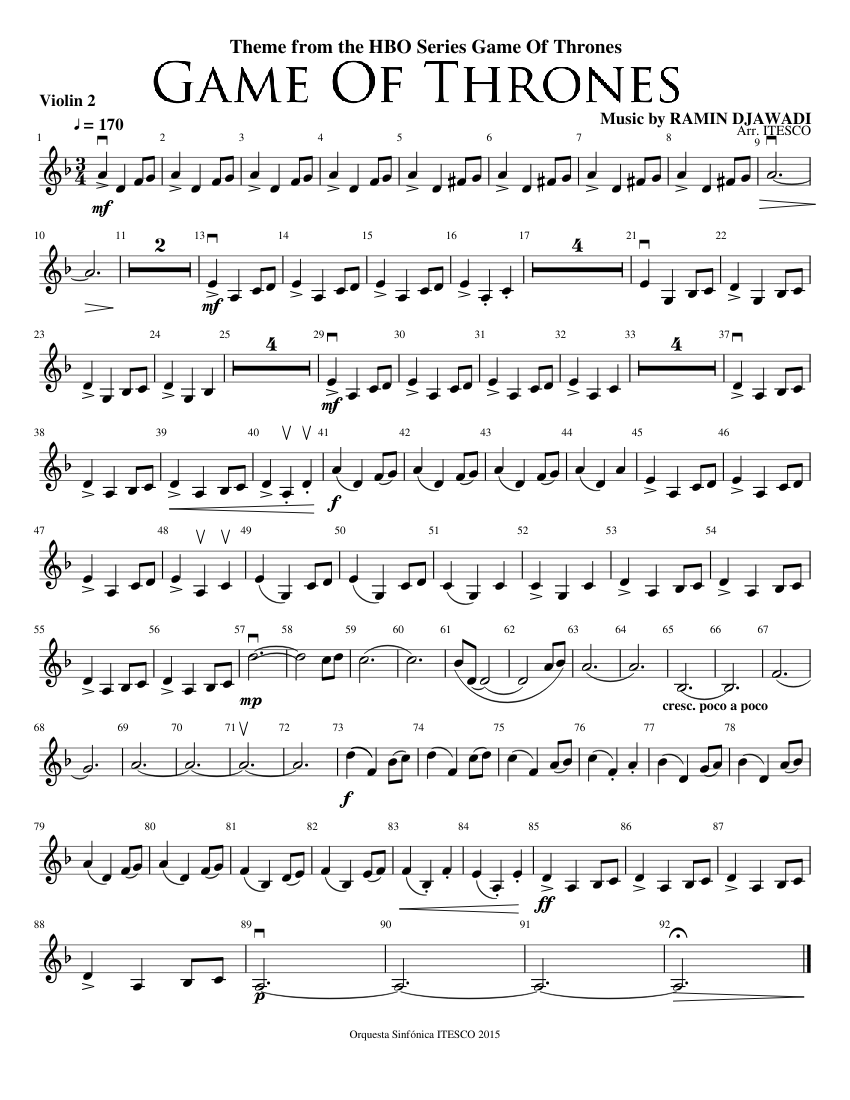 Game Of Thrones Theme Violin 2 Sheet Music For Violin Solo Musescore Com
