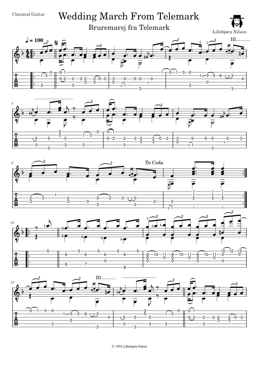 Wedding March From Telemark Sheet Music For Guitar Download Free In
