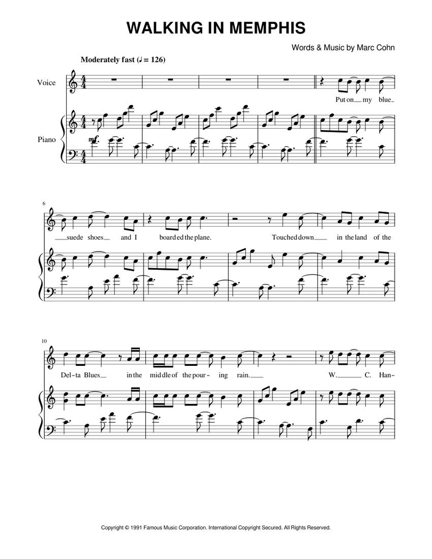 Walking In Memphis Chords Piano