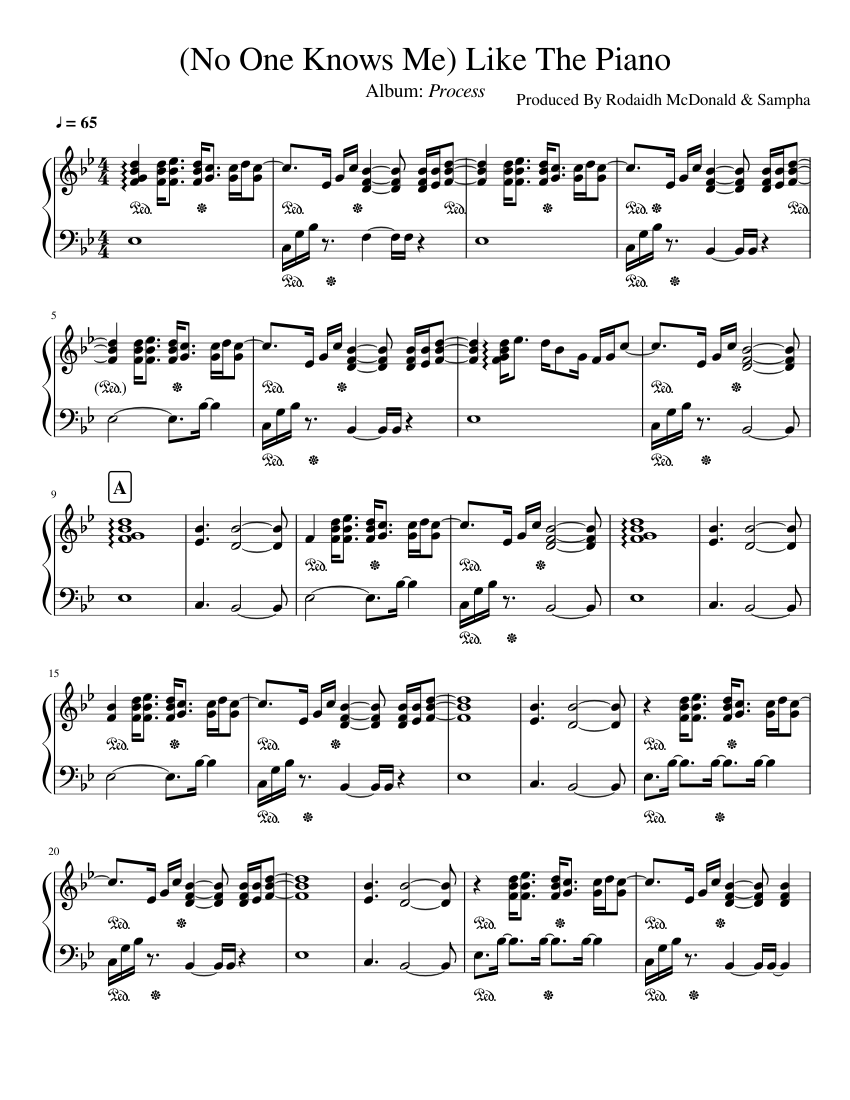 Sampha   No One Knows Me Like The Piano Sheet music for Piano ...