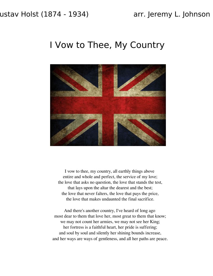 I Vow To Thee My Country Sheet Music For Flute Clarinet Oboe