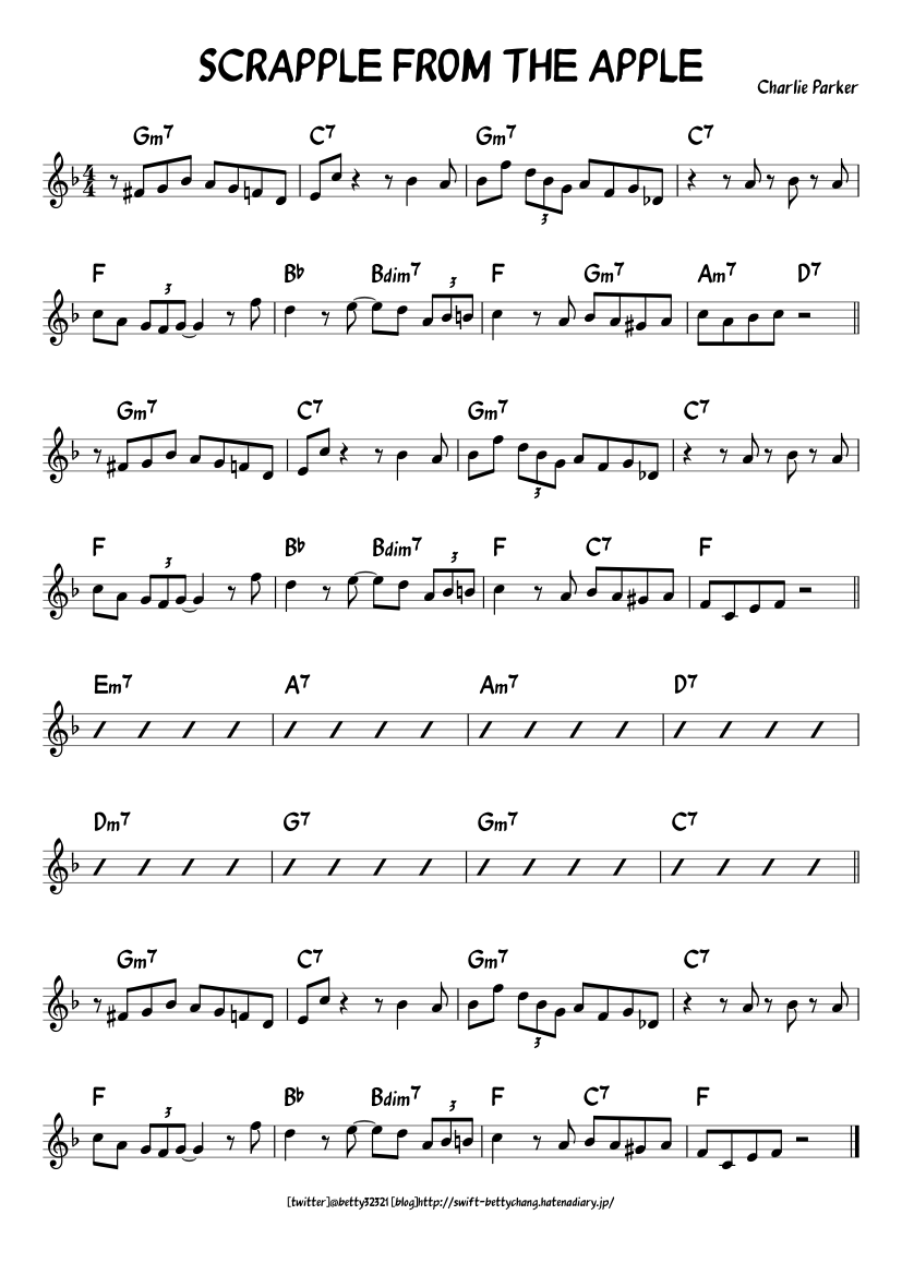 Scrapple From The Apple Sheet Music For Piano Solo Musescore Com