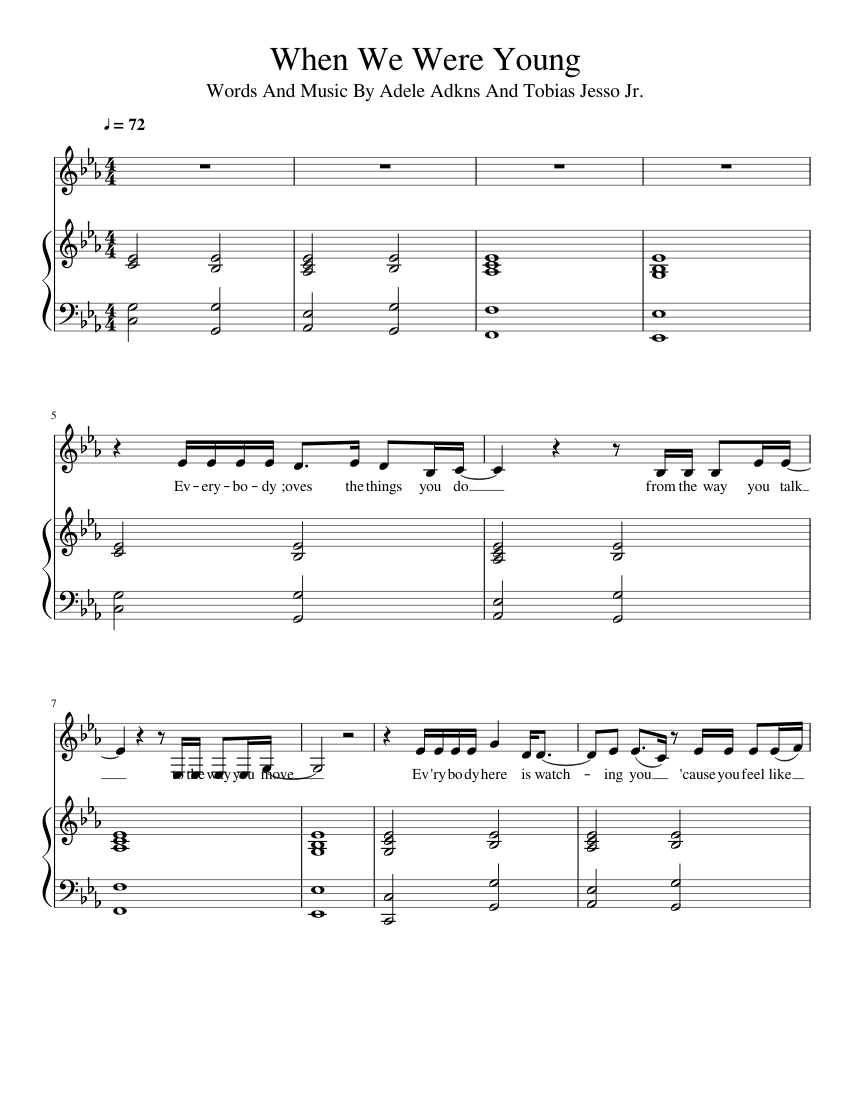 When We Were Young Sheet music for Piano, Vocals Piano Voice ...