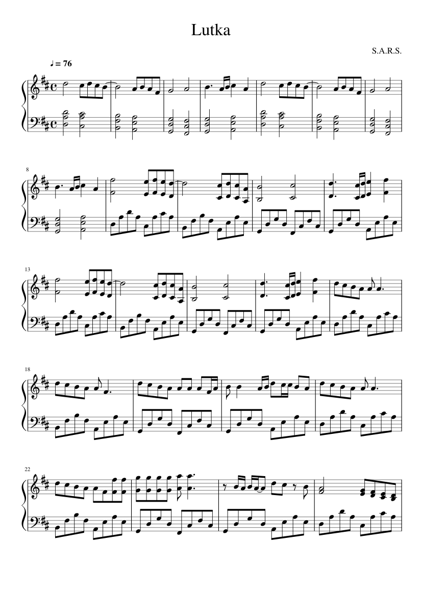 Lutka Sars Sheet Music For Piano Download Free In Pdf