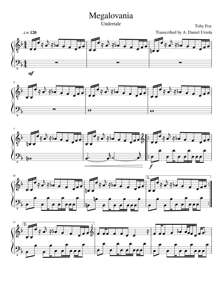 Undertale Megalovania Piano Sheet Music For Piano Solo Musescore Com