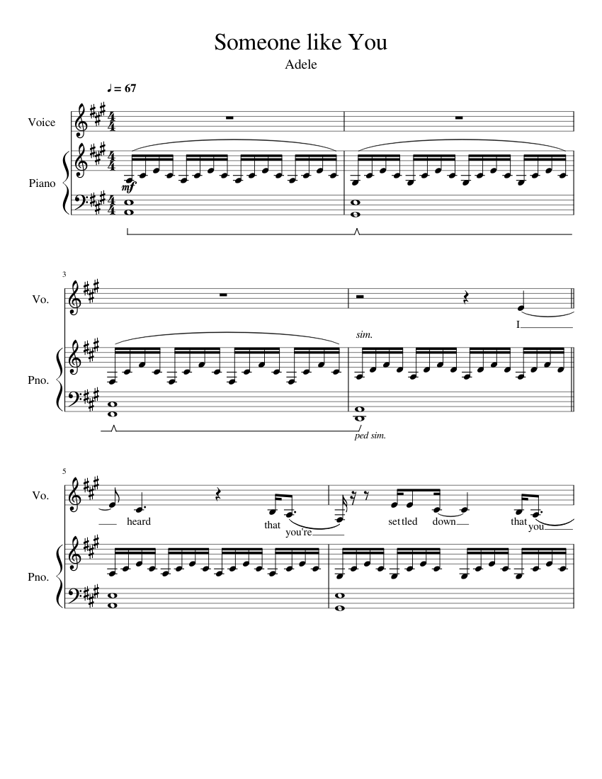 Someone like You Sheet music for Piano, Vocals Piano Voice ...