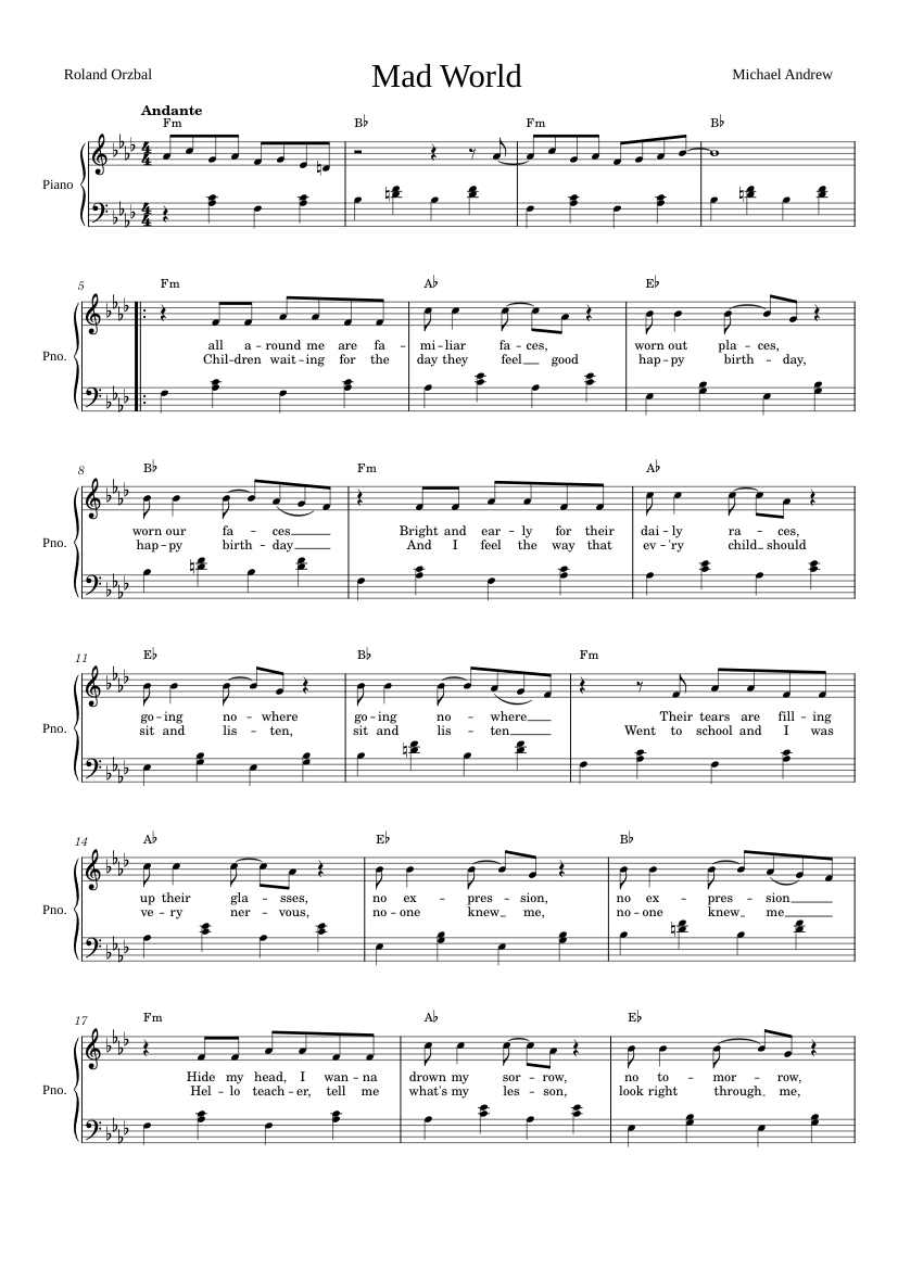 Mad World Piano Sheet Music For Piano Download Free In Pdf Or Midi