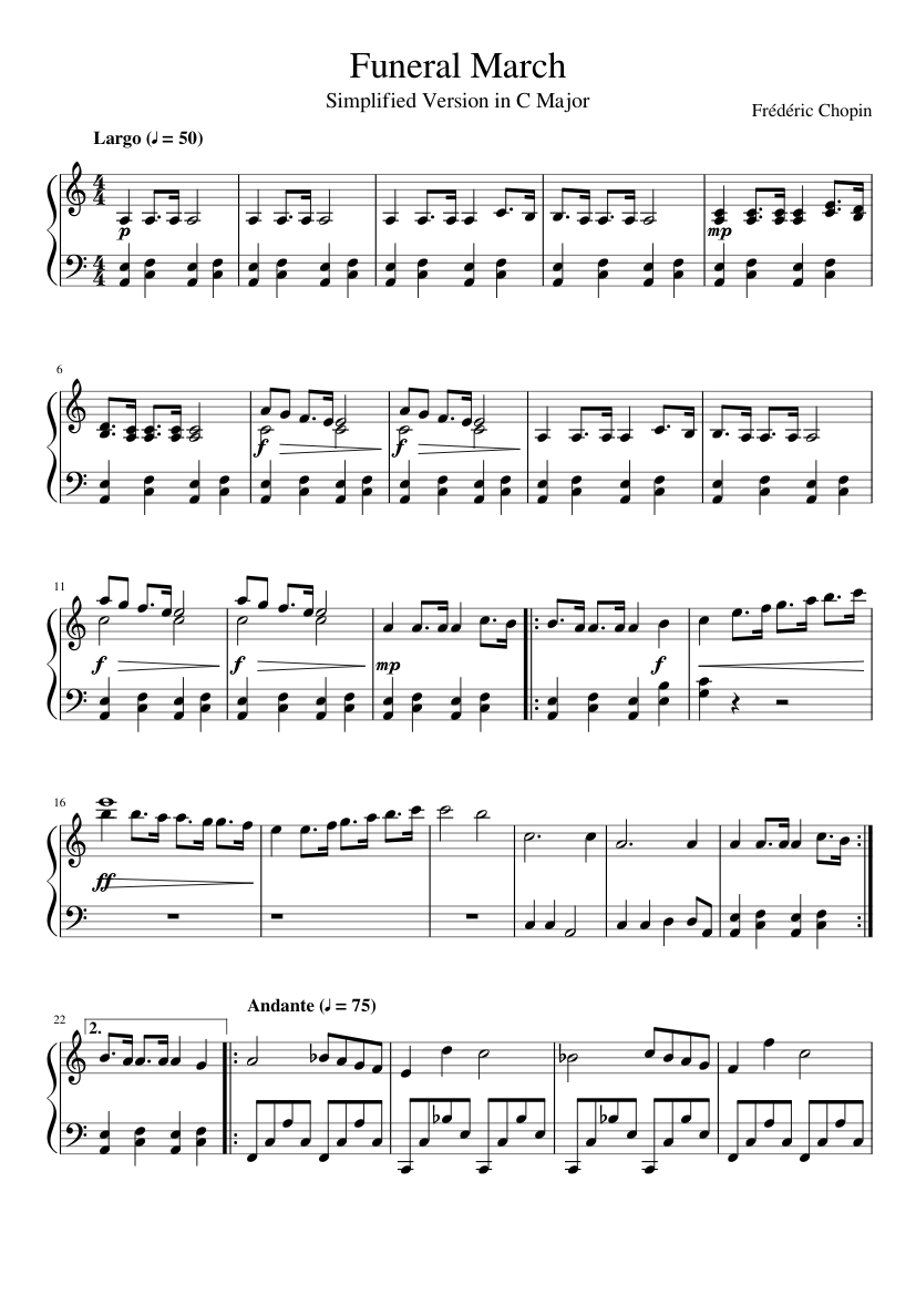 Funeral march (arr. ) frederic chopin | sheet music to download.
