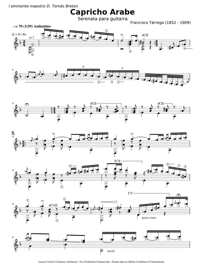 Capricho Arabe - Francisco Tarrega Sheet music for Guitar ...