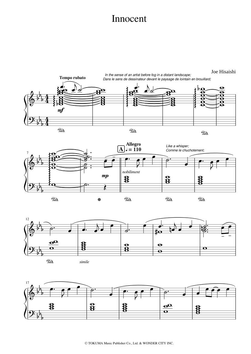 Innocent sheet music composed by Joe Hisaishi – 1 of 3 pages