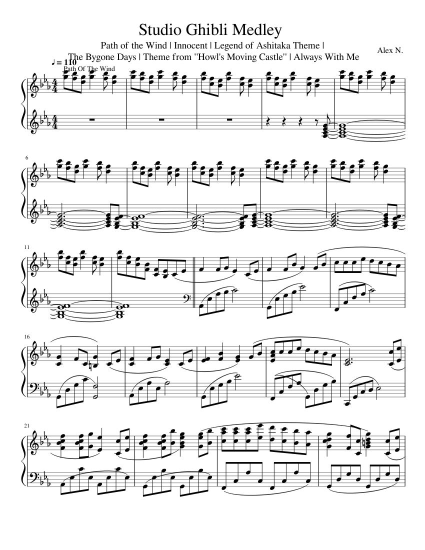 Studio Ghibli Cello Nausicaa To The Wind Rises Sheet Music Book