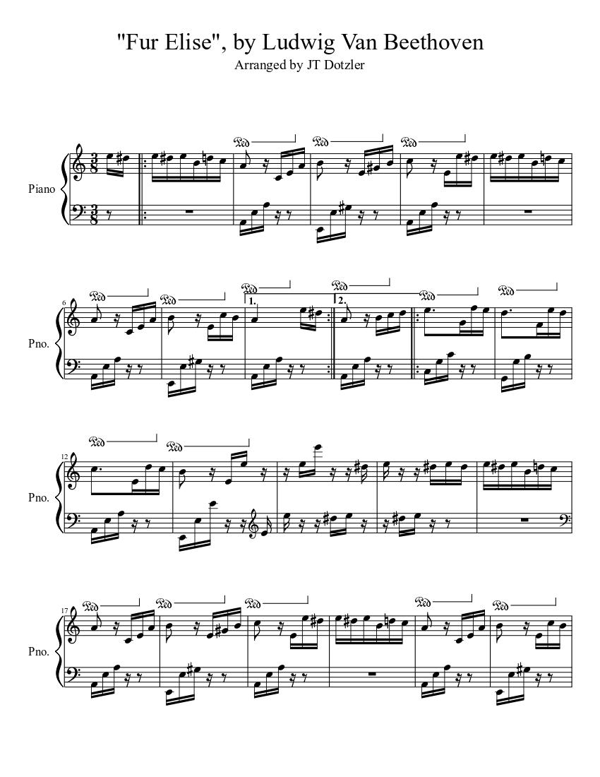 Free fur elise sheet music beautifully readable copies.