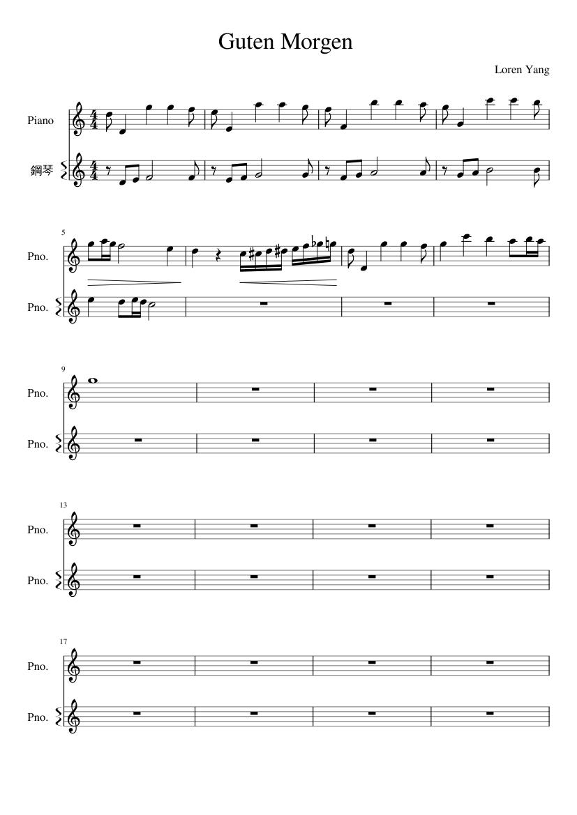 Guten Morgen22 Mscz Sheet Music For Piano Download Free In