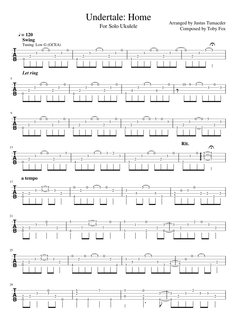 Undertale Home For Solo Ukulele Sheet Music For Guitar Download
