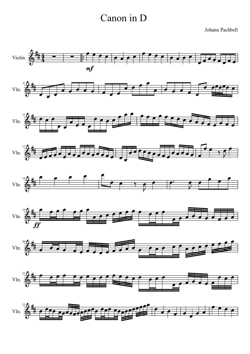 canon in d violin solo sheet music download free in pdf or midi