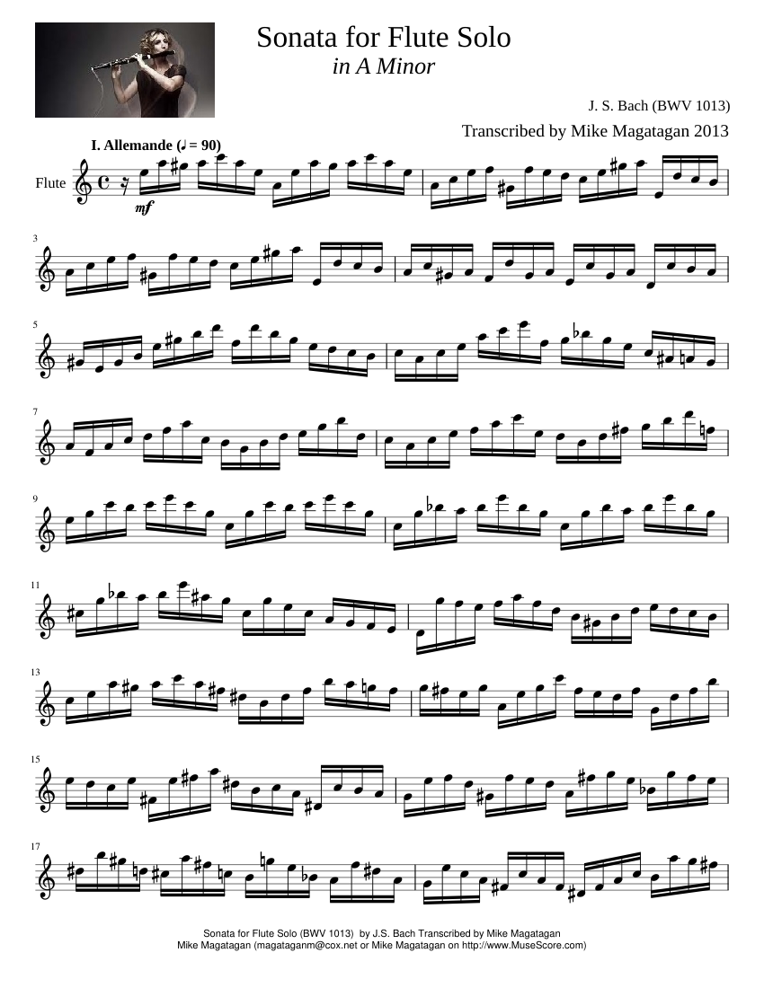 Sonata for Flute Solo in A Minor sheet music composed by J. S. Bach (BWV  1013