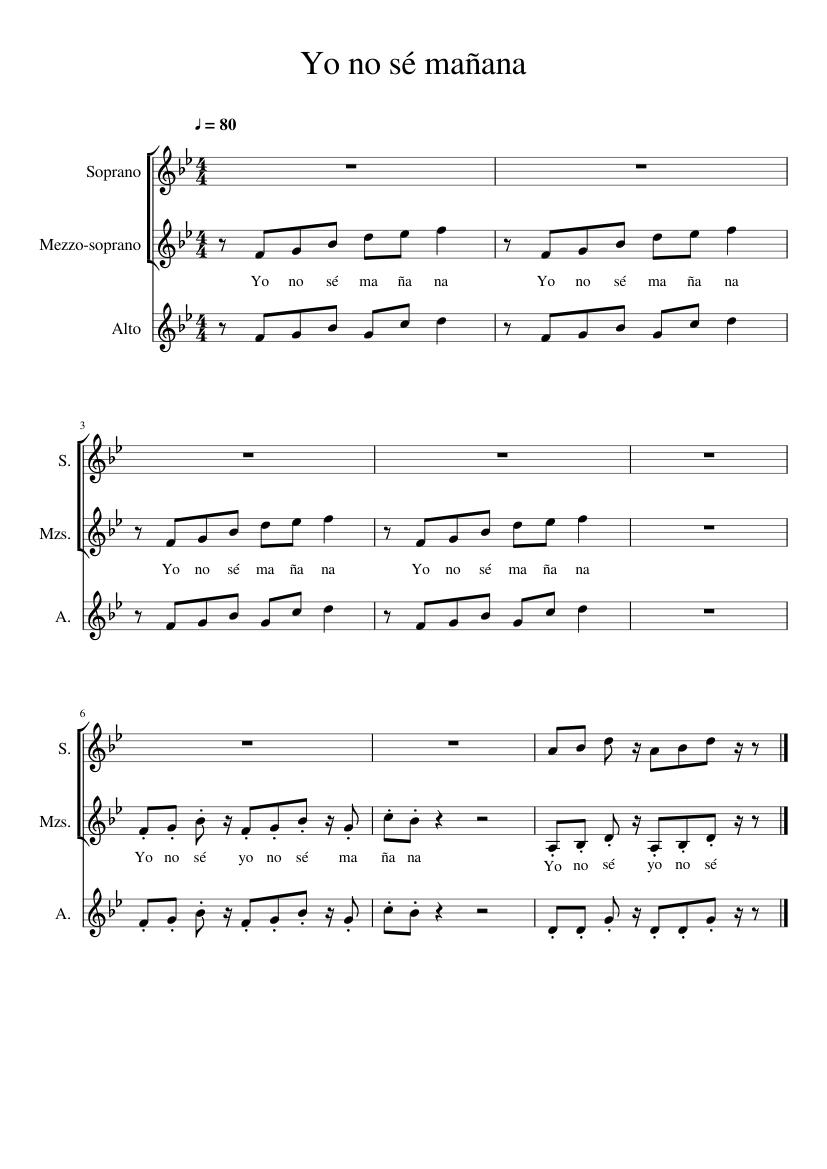 Yo No Sé Mañana Sheet Music For Piano Download Free In Pdf Or Midi
