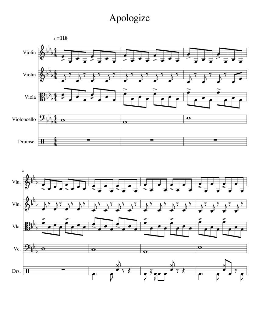 Apologize Klaviernoten Download