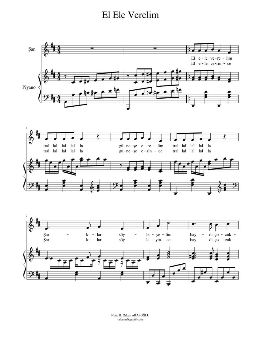 el ele verelim sheet music for piano