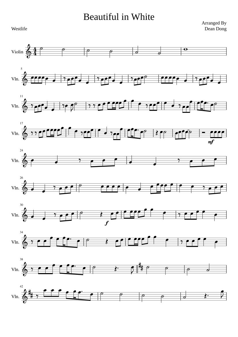 Beautiful In White - Westlife (RECREATED) Sheet music for ...