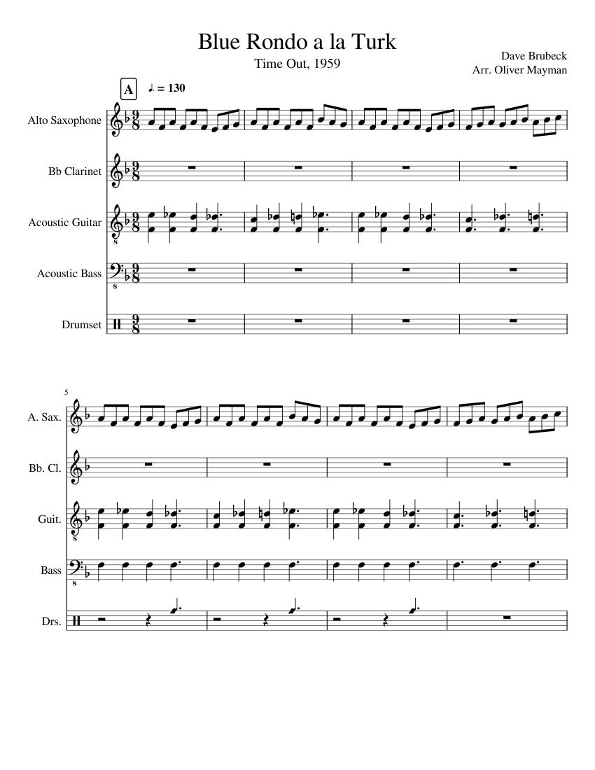 blue rondo a la turk sheet music free