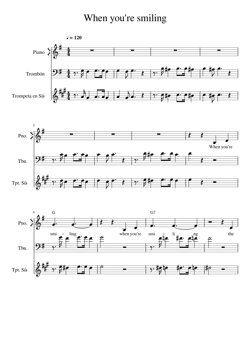 Smiling lead sheet re when you Chords and