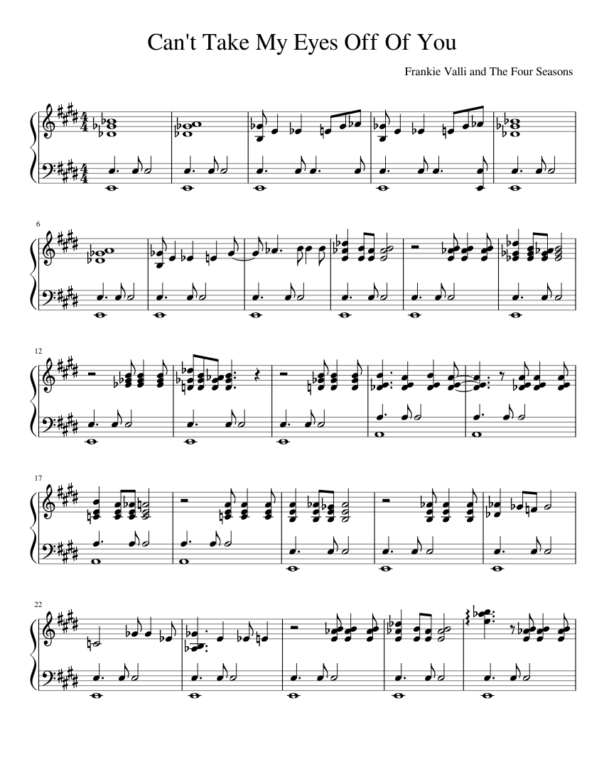 can't take my eyes off of you - frankie valli [solo piano] sheet music for  piano (solo) | musescore.com  musescore.com