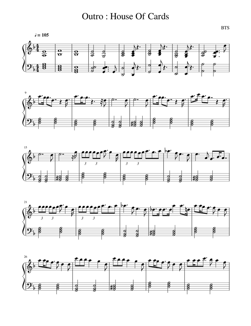 Outro  House of cards Sheet music for Piano Solo   Musescore.com