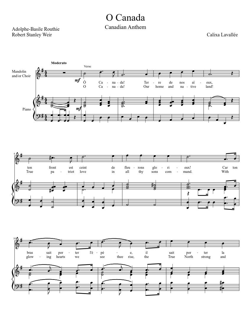 O canada + sheet music download free in pdf or midi.