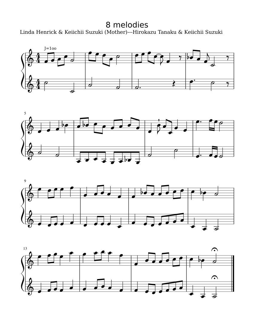 8 Melodies (in progress) sheet music for Piano download free