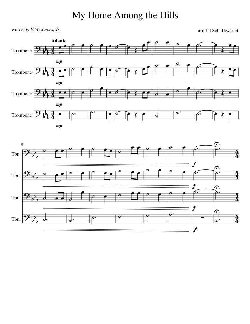 my home among the hills sheet music for trombone (mixed quartet) |  musescore.com  musescore.com