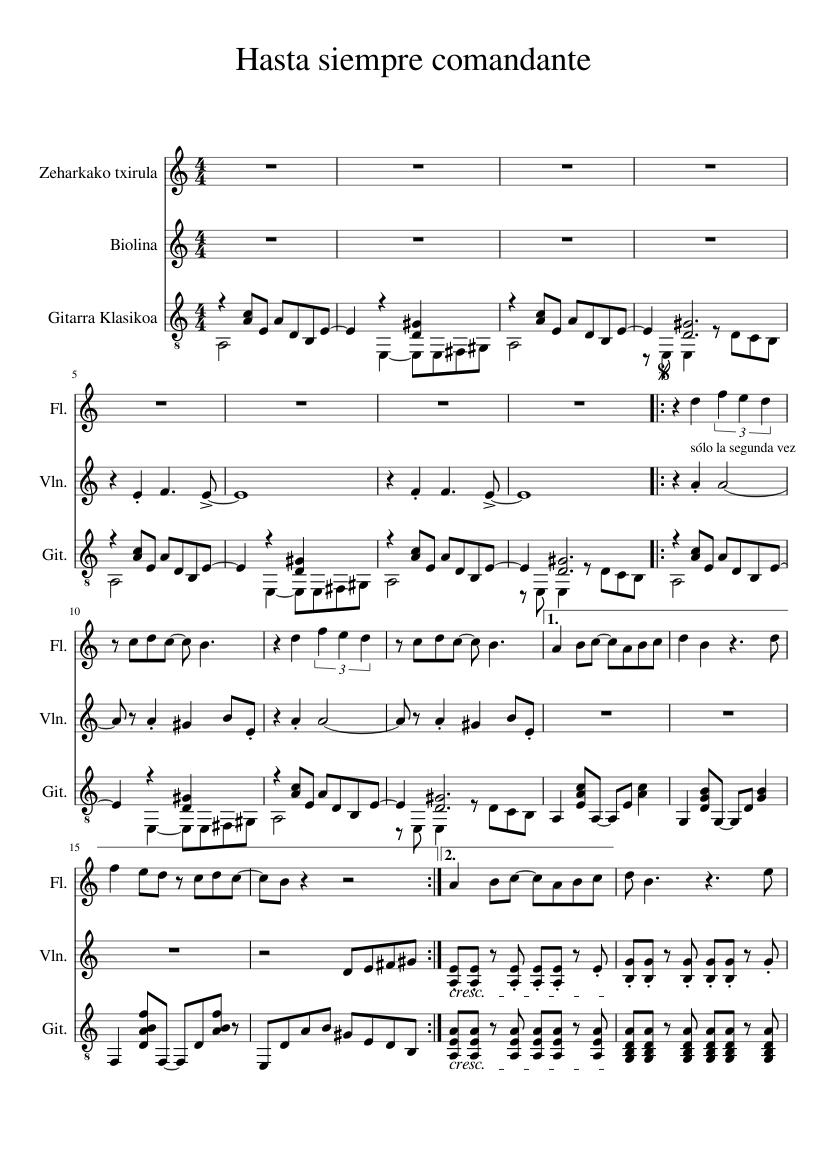 Hasta siempre comandante sheet music for violin, recorder download.