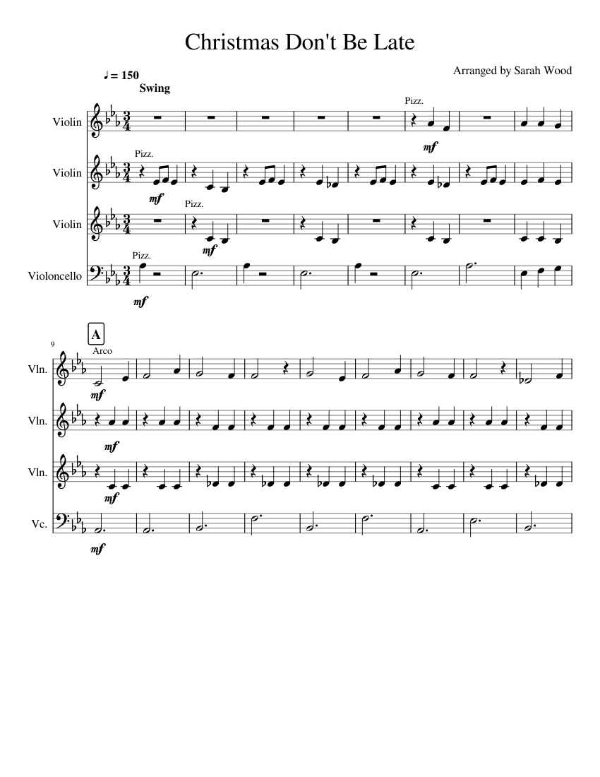 Christmas Don\'t Be Late sheet music for Violin, Cello download free ...