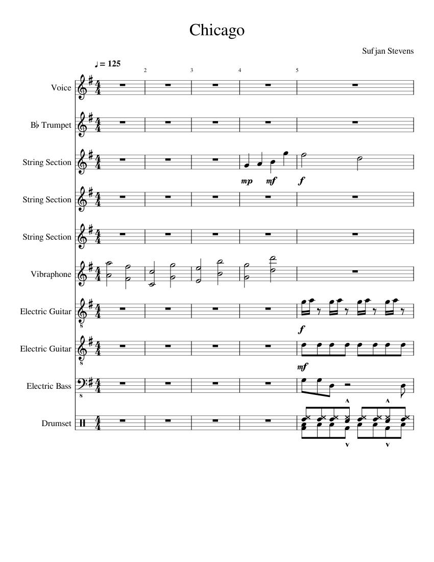 Chicago   Sufjan Stevens Sheet music for Trumpet, Voice Other ...