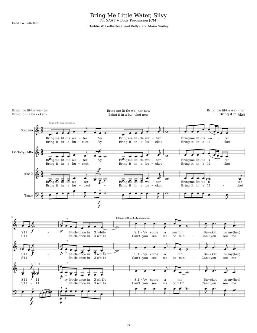Bring Me Little Water Silvy Sheet music | Musescore.com