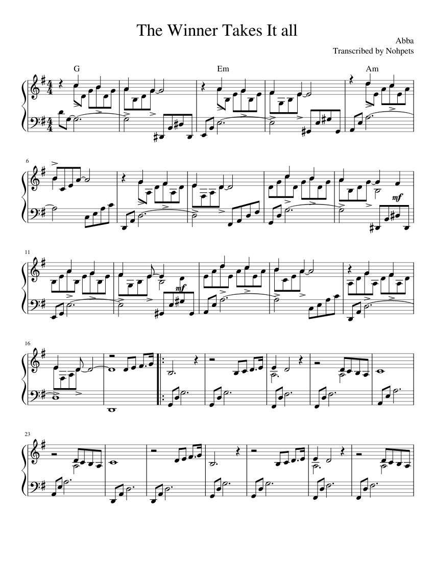 Abba the winner takes it all sheet music for piano download free.