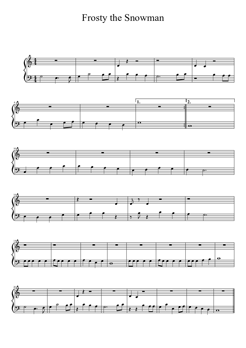 photograph about Frosty the Snowman Sheet Music Free Printable identified as Frosty the Snowman sheet tunes down load cost-free inside PDF or MIDI