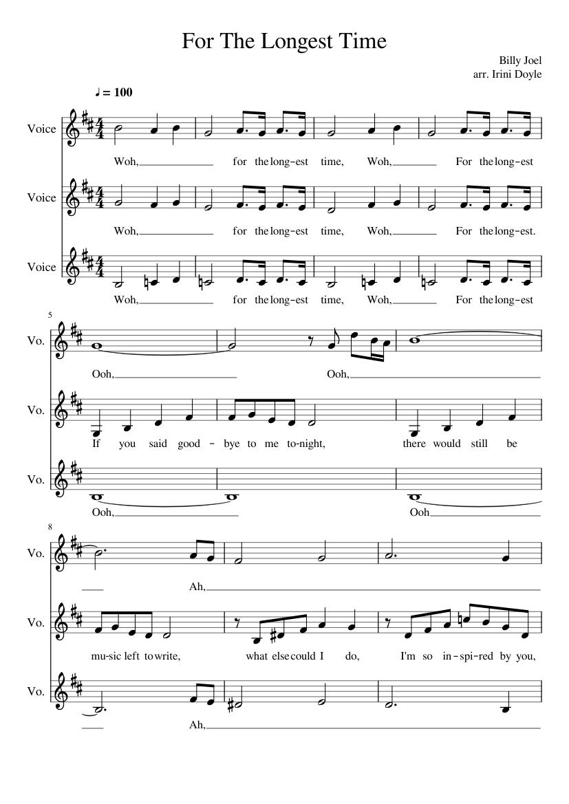 db2a0d92f3 For The Longest Time sheet music composed by Billy Joel arr. Irini Doyle – 1