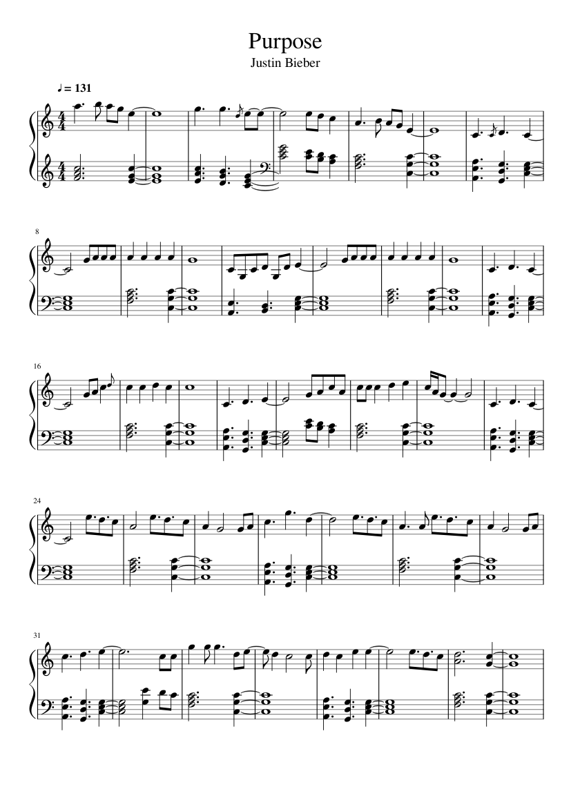 Justin Bieber Baby Piano Note