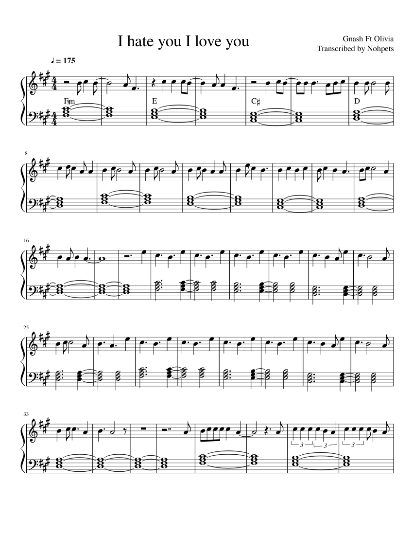 Gnash i hate you i love you sheet music download free in pdf or midi.