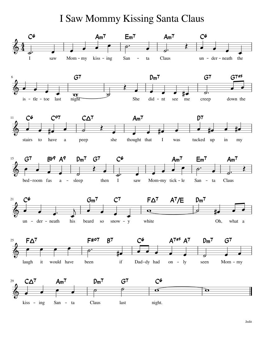 i saw mommy kissing santa claus sheet music for piano (solo)   musescore.com  musescore.com