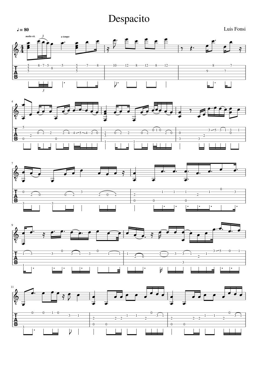 Despacito Luis Fonsi Sheet Music For Guitar Download Free