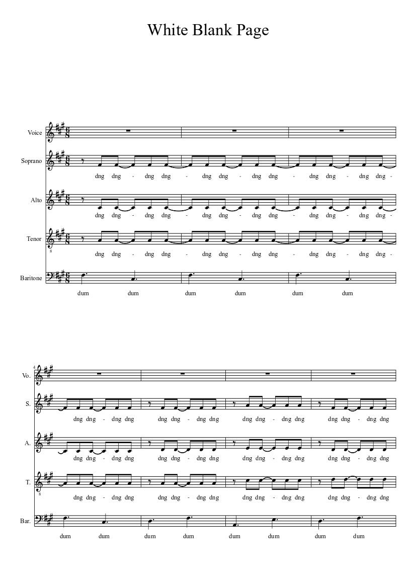 White Blank Page Sheet music for Voice Other Solo   Musescore.com