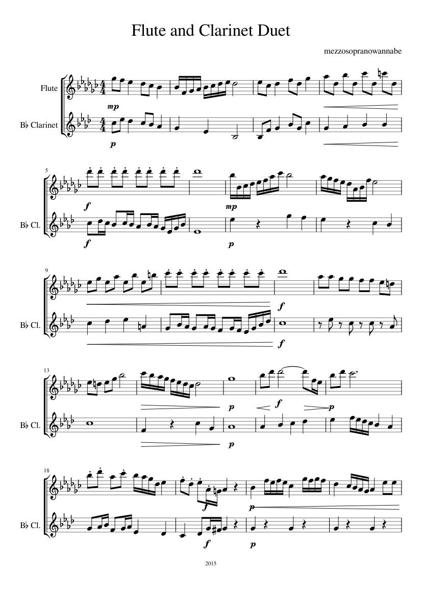 flute and clarinet duet sheet music for flute, clarinet (in b flat)  (woodwind duet) | musescore.com  musescore.com