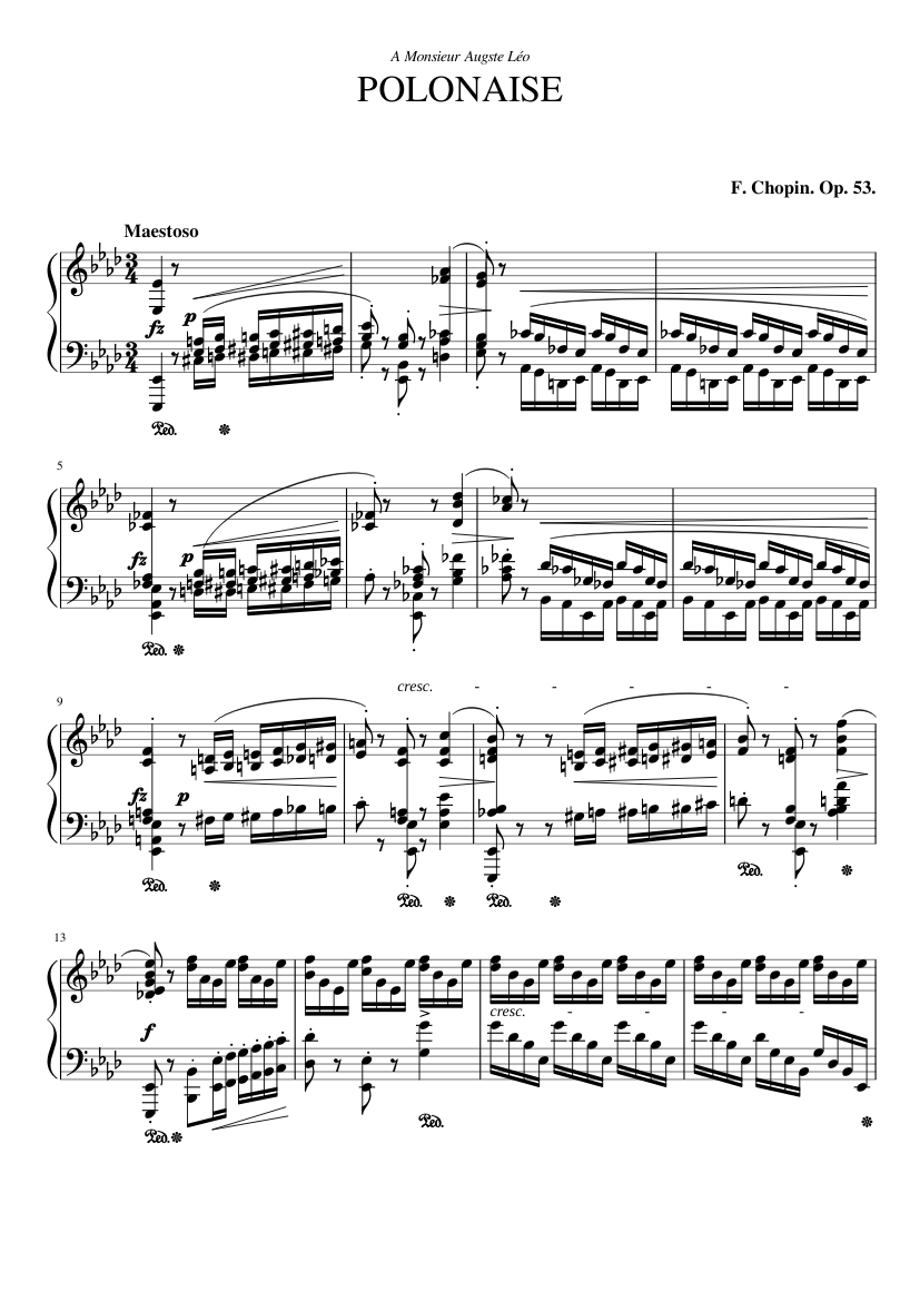 Henle Urtext  Piano Frédéric Chopin Book Only HN960 Polonaise In A Flat Op.53